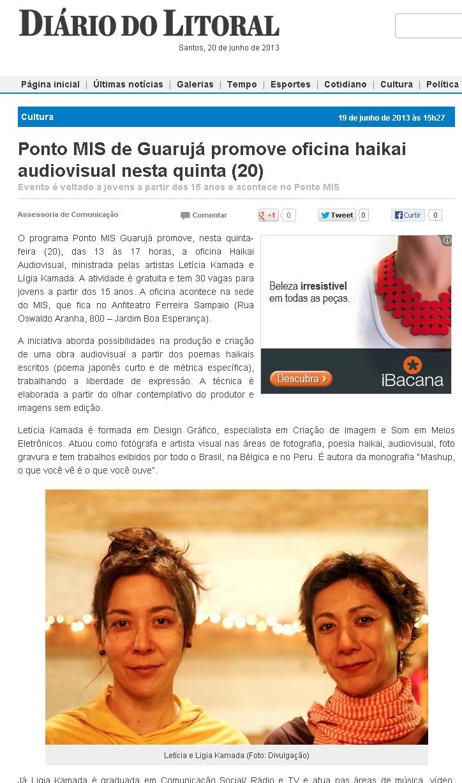 Oficina Haikai Audiovisual | Projeto Pontos MIS | Museu da Imagem e do Som de SP | 2013