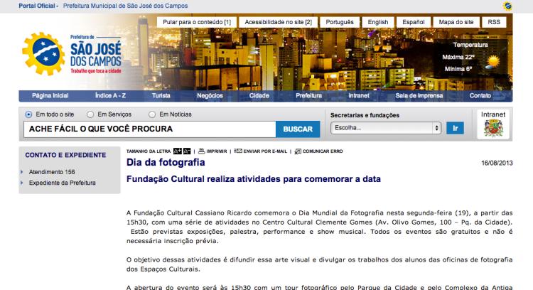Exposição em homenagem ao Dia da Fotografia | FCCR . Centro Cultural Clemente Gomes e Cine Santana | 2013