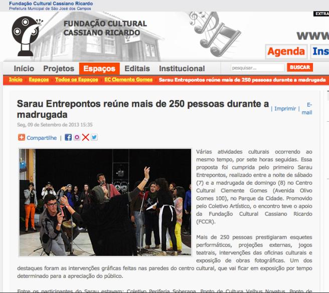 Sarau Coletivo Entrepontos | FCCR