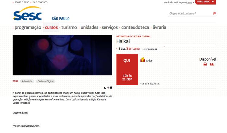 Oficina Haikai Audiovisual | SESC Santana | SP | 2013