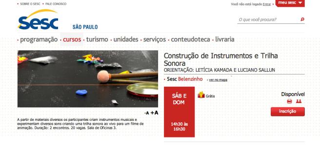 Oficina Construção de Instrumentos e Trilha Sonora | SESC Belenzinho | Out/2013