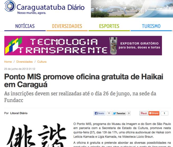 Oficina de Haikai Audiovisual | Pontos MIS | Caraguatatuba