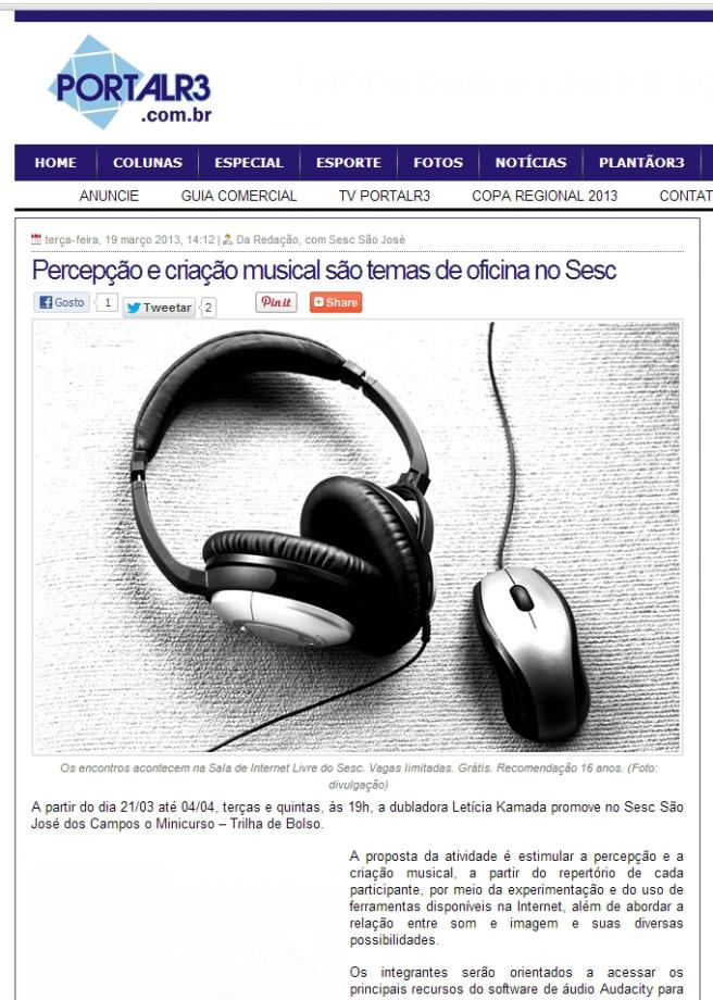 Oficina no SESC São José dos Campos | Trilha de Bolso | 2013