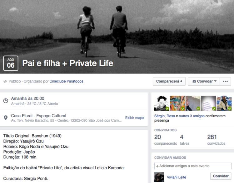 """Exibição do Haikai """"Private Life"""""""